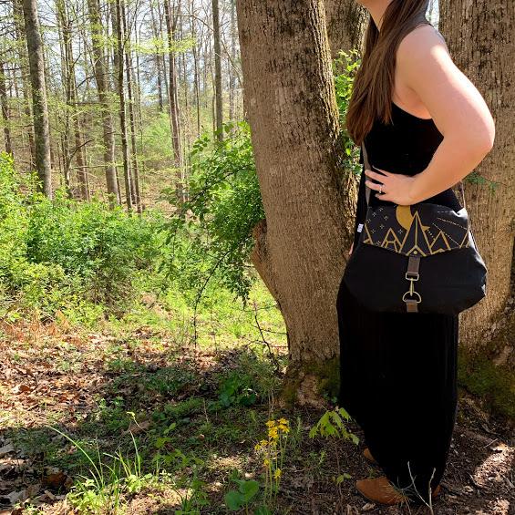 black and mustard yellow medium sized bag, handmade crossbody bag, elementality asheville