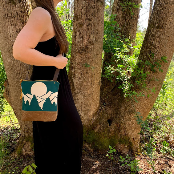 elementality asheville bag, waxed canvas bag, teal white and brown waxed canvas bag,