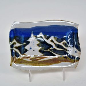 ceramic small dish with mountain decoration, ceramic butter dish, mountain kitchen decor
