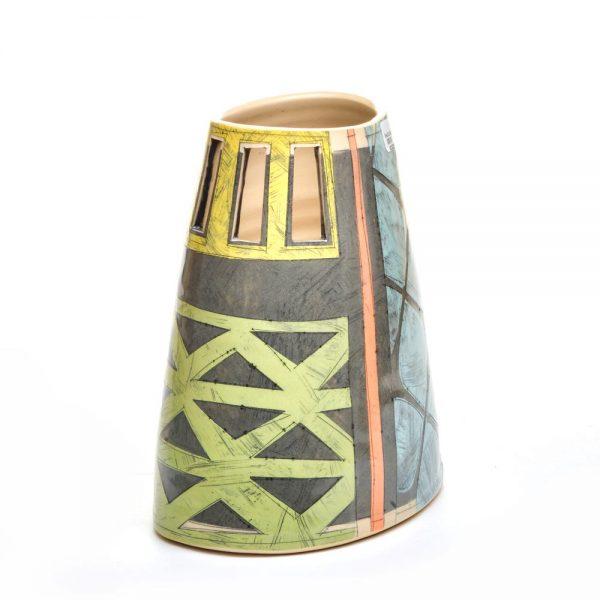 asymmetrical ceramic flower vase, benyo pottery