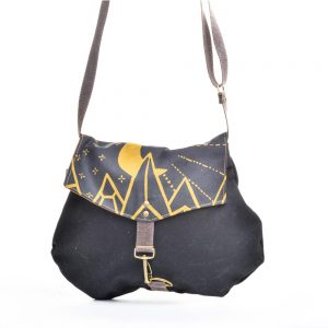 black canvas handmade bag with yellow mountain decoration