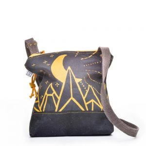 black and yellow waxed canvas casual crossbody bag