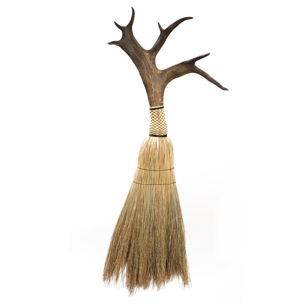 antler broom, handmade broom with antler handle, unique broom