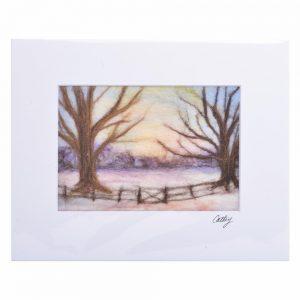 winter scene with colored felt, handmade felted landscape