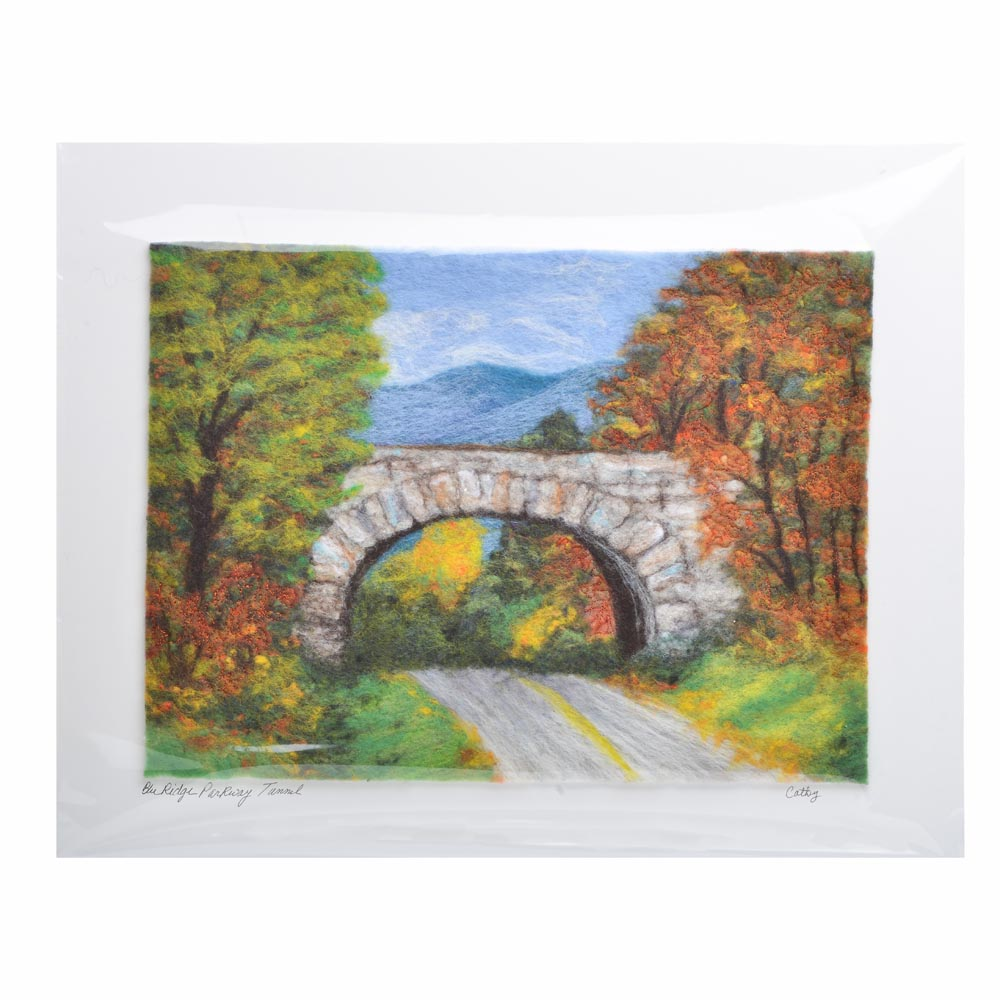 blue ridge parkway landscape, parkway tunnel picture made using different colors of felt, fall mountain scene