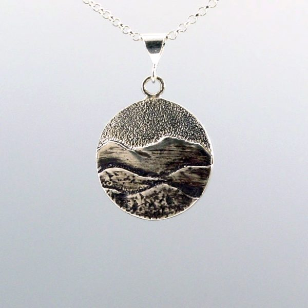 blue ridge mountain jewelry, sterling silver handmade mountain necklace,