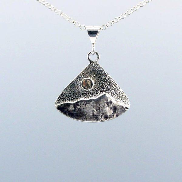 blue ridge mountain jewelry, triangle mountain necklace, handmade sterling silver mountain pendant, nc jeweler