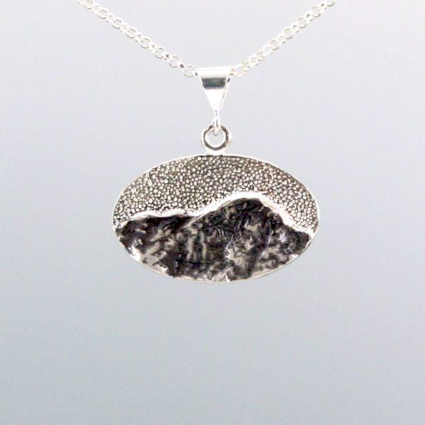 sterling silver mountain oval pendant, handmade mountain jewelry, nc mountain jewelry