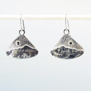 mount pisgah silver earrings, triangle shaped handmade silver earrings with mountains and moon