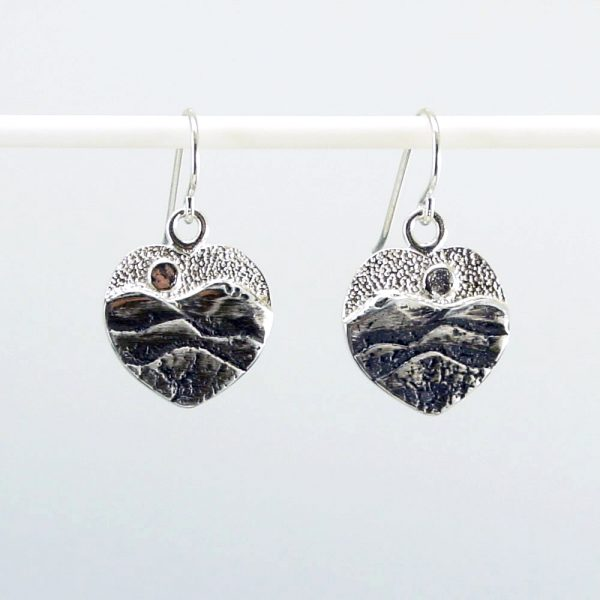 mountain earrings, sterling silver heart earrings with mountains and moon