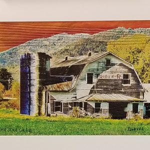 old barn image, printed and embroidered framed piece