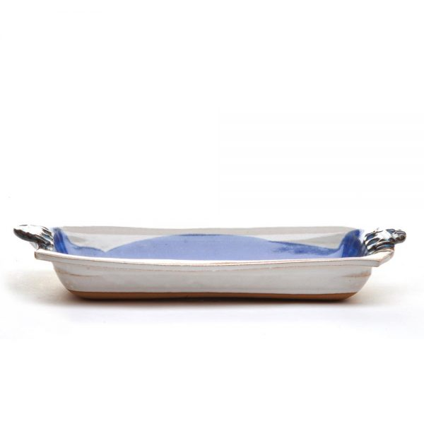 side view of asparagus tray, handmade ceramic serving dish