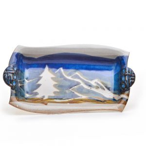 small rectangle serving dish with mountain scene, ceramic handmade small serving dish