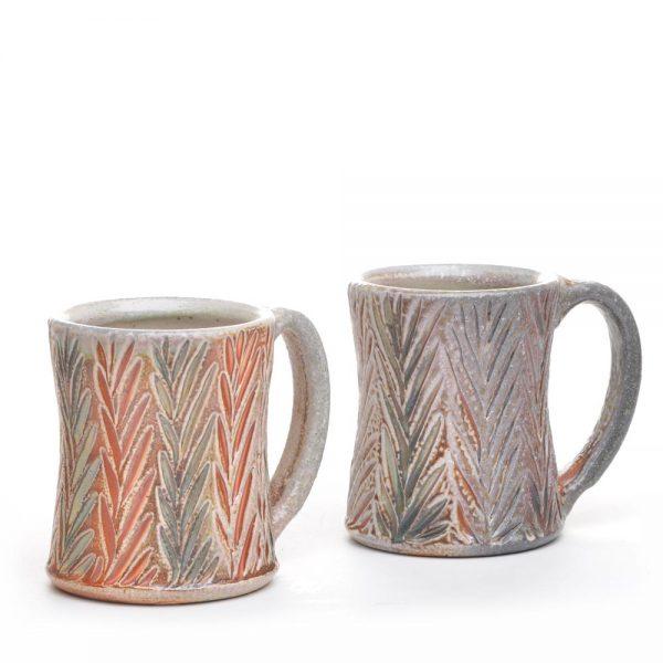 handcarved leaf salt fired mug, nc bakersville potter