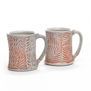 carved soda fired ceramic coffee mug