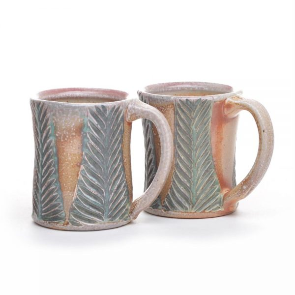 handmade ceramic mug with carved leaf design, soda fired coffee mug