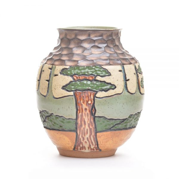 mountain carved vase