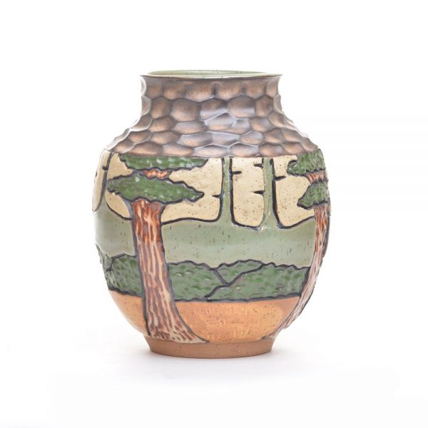 thrown and carved ceramic vase with trees and mountain decoration, blue ridge mountain pottery