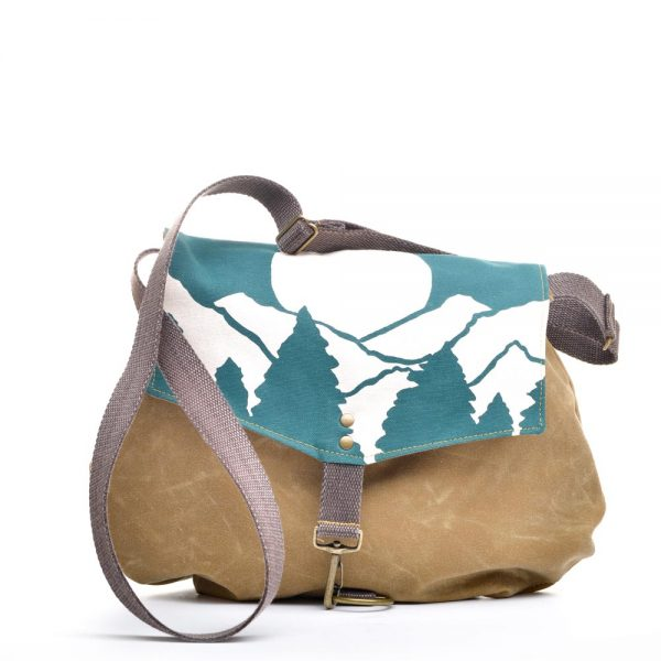 cross body waxed canvas and teal mountain scene bag, casual handmade vegan bag