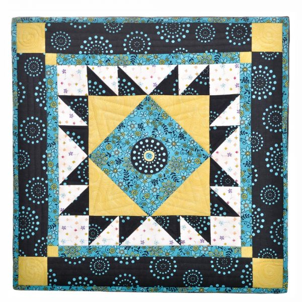 black white yellow and blue framed wall quilt, country home decor