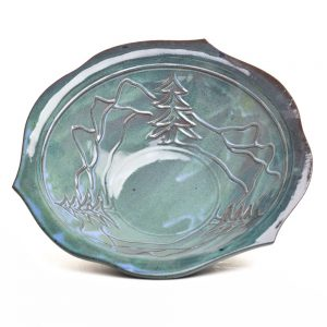 mountain home kitchen decor, functional blue green handmade ceramic bowl with tree and mountain decoration