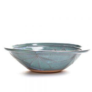 blue green ceramic handmade bowl, mountain home kitchen decor