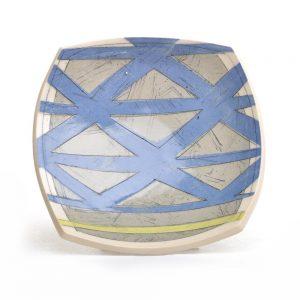 blue and gray handmade ceramic soap dish, handmade pattern soap dish
