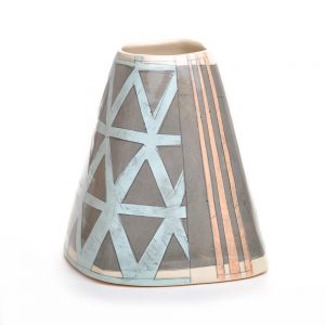 handmade ceramic pyramid vase with dark gray light blue and orange patterns