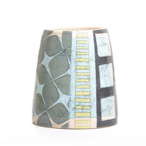 handmade ceramic blue and gray utensil jar with patterns