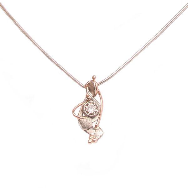 diamond handmade pendant, free form asymmetrical gold and diamond pendant