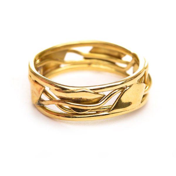 small gold woven vine wedding band