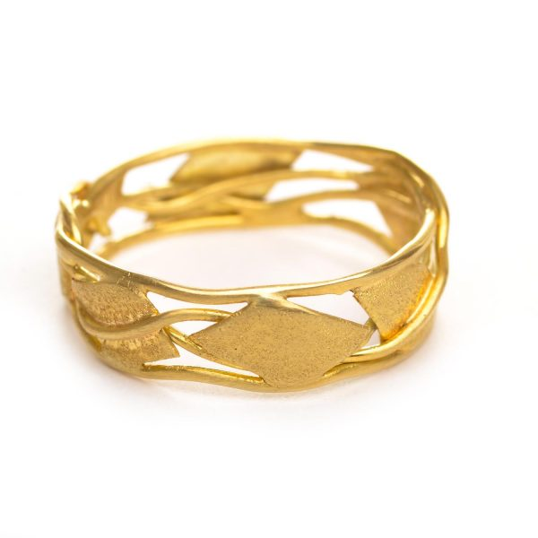 yellow gold vine handmade wedding band
