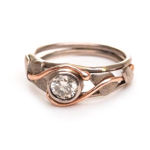 champagne diamond rose gold wedding band