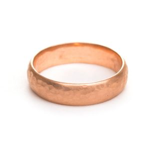 rose gold hammered wedding band, nc wedding jewelry, handmade simple hammered gold band