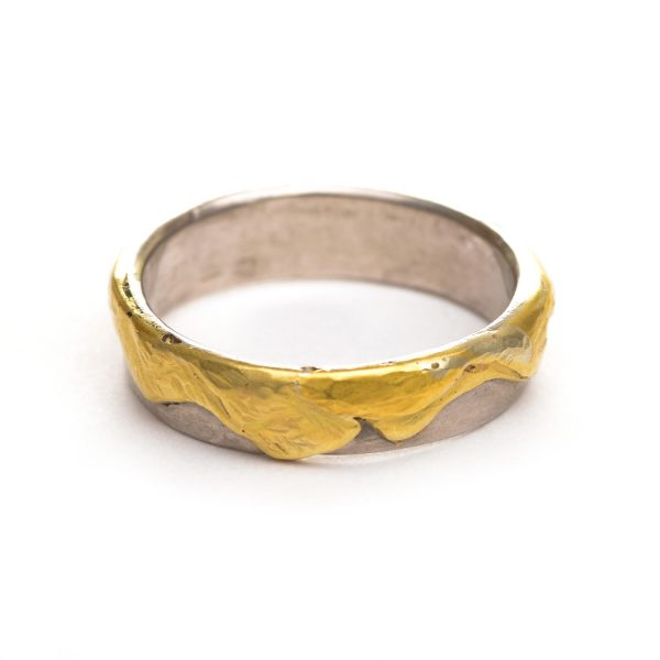 gold and silver mountain range ring