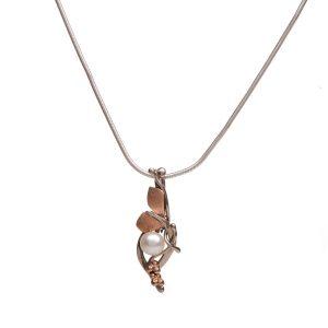 pearl handmade asymmetrical gold pendant