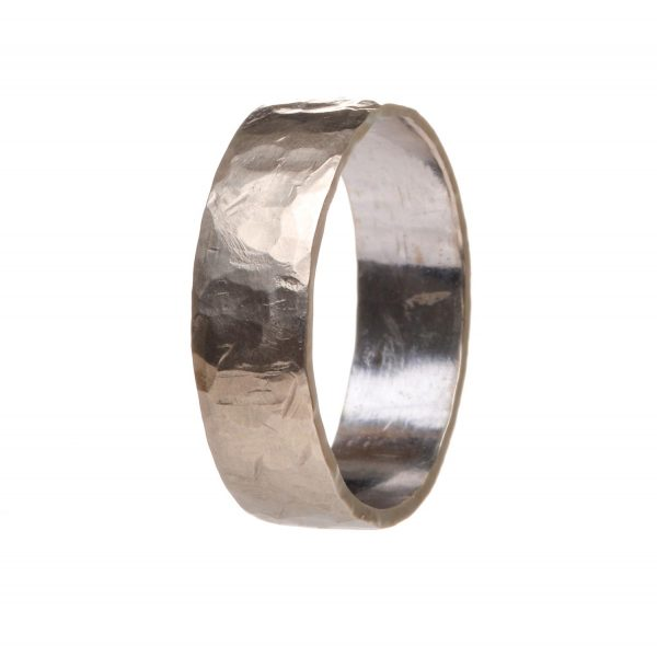 hammered silver wedding band, white gold hammered wedding ring
