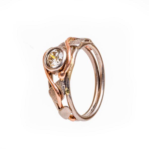 champagne diamond vine wedding ring