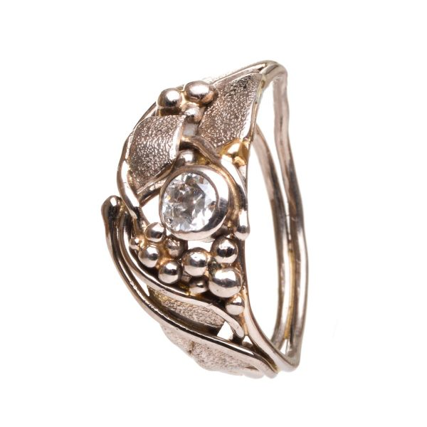 asymmetrical handmade craft ring, nc jewelery, nc wedding ring