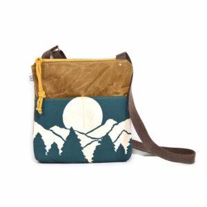 mountain waxed canvas vegan crossbody bag