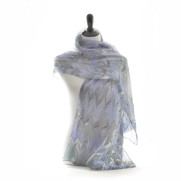 blue and gray marbled silk scarf