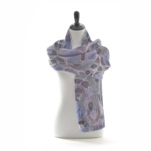 """20"""" wide double sided silk marbled scarf, purple and blue silk marbled scarf"""