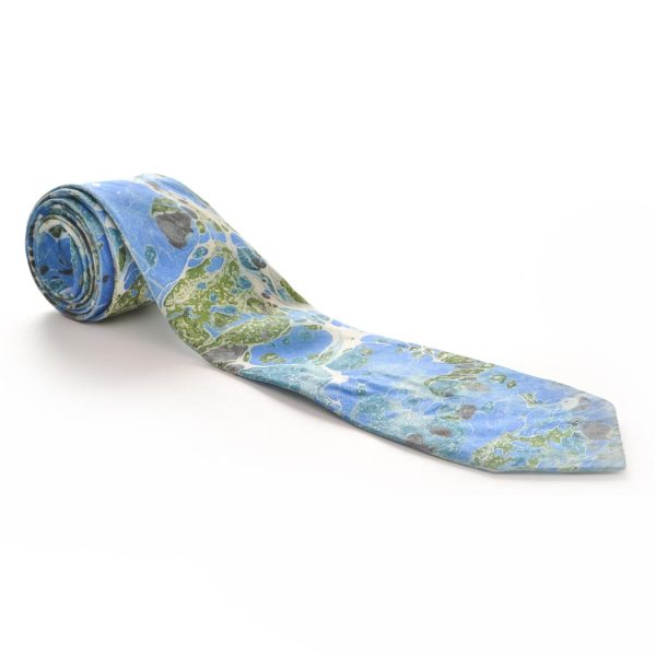 blue and green handmade marbled silk necktie
