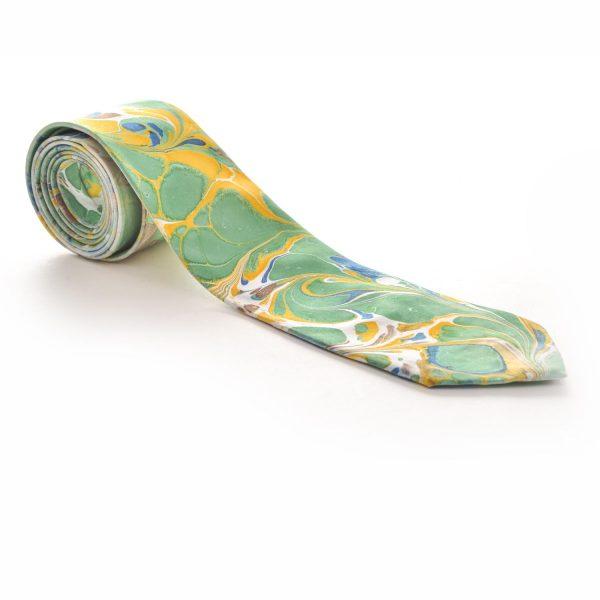 green and yellow handmade marbled silk necktie