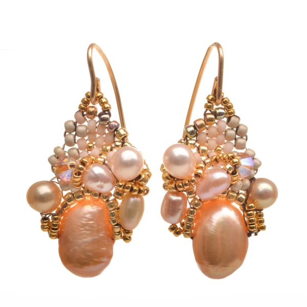 peach pearl earrings with woven seed beads and crystals