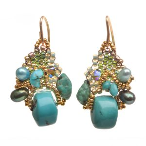 turquoise and gold woven seed bead earrings