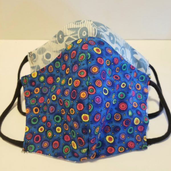 handmade cotton blue dots face mask