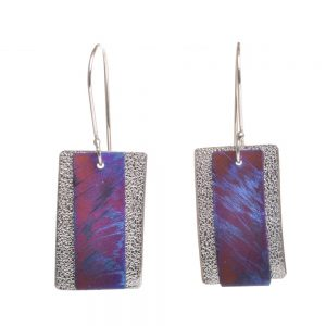 textured silver earrings with blue and pink silver on top, handmade colorful earrings, nc jeweler
