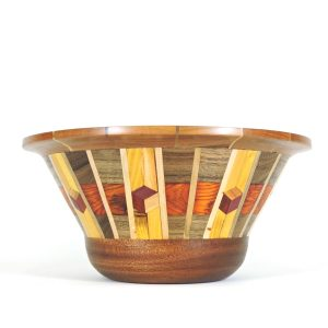 segmented turned natural colored bowl,
