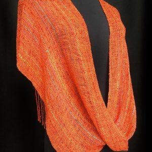 handwoven orange fringe poncho